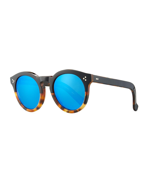 Leonard Round Half & Half Sunglasses, Tortoise - Illesteva - Tortoi