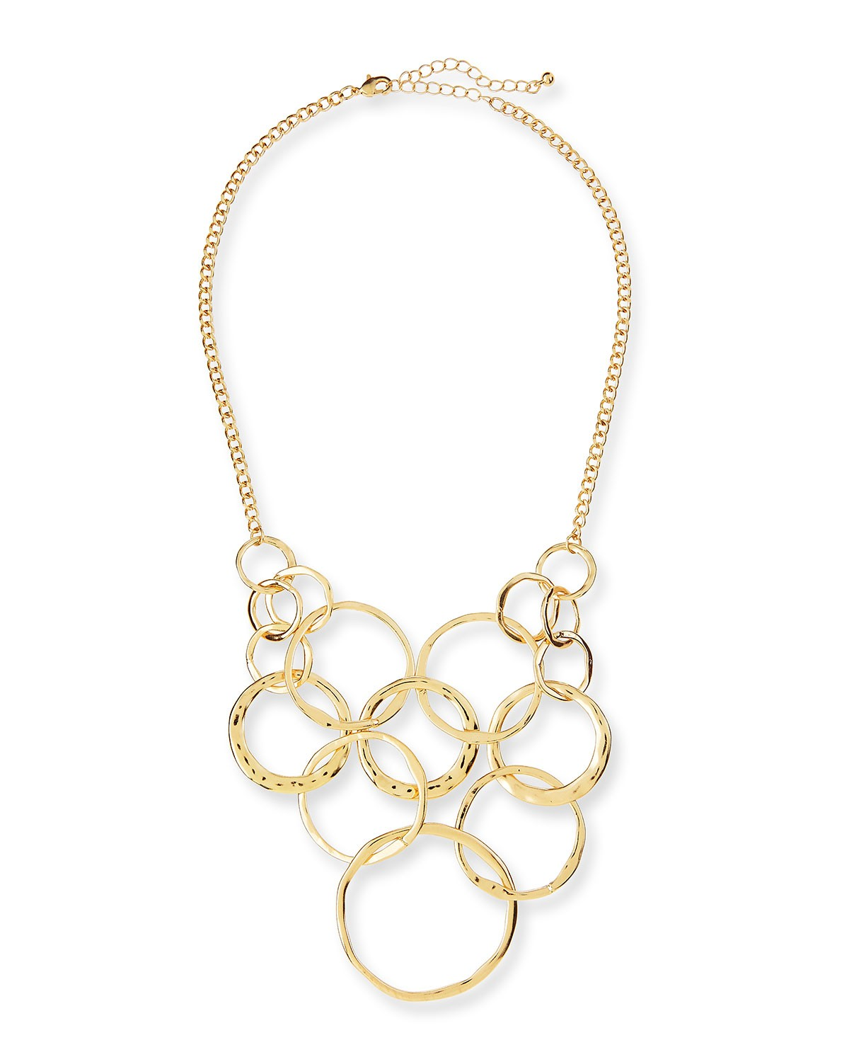 Long Circles Chain Bib Necklace, Golden - Jules Smith - Gold (ONE SIZE)