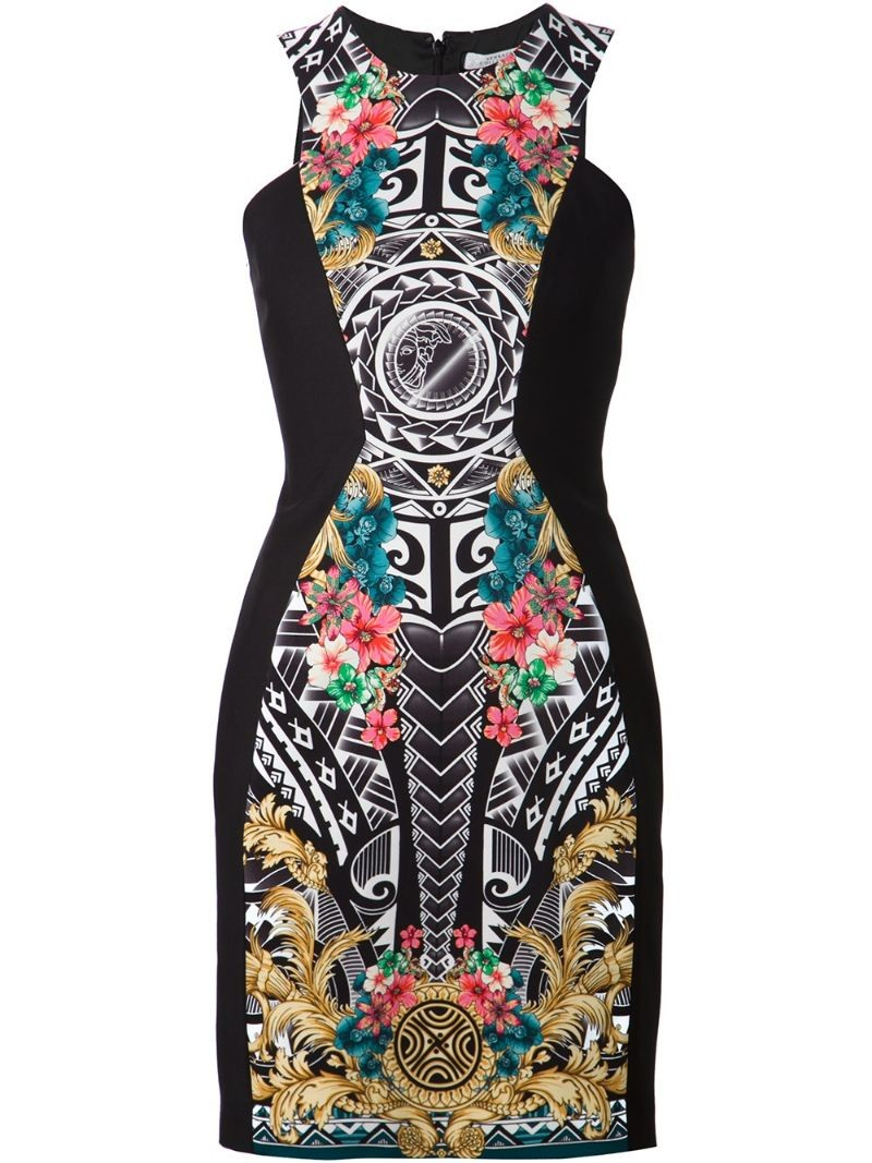 VERSACE COLLECTION Baroque Aztec print dress