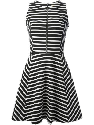 striped A-line dress