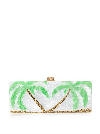 Flavia palm trees box clutch