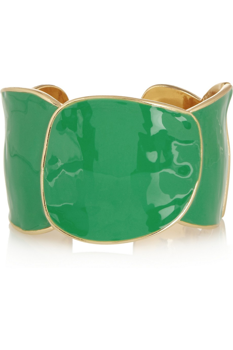 Enameled gold-plated cuff