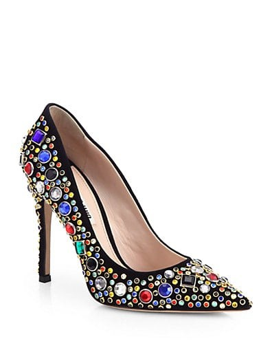 Donna Jeweled Suede Pumps