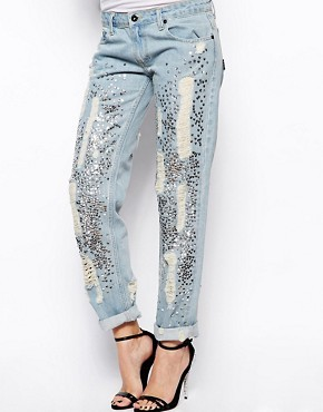 Religion Boyfriend Jeans With Sequin And Ripped Detail