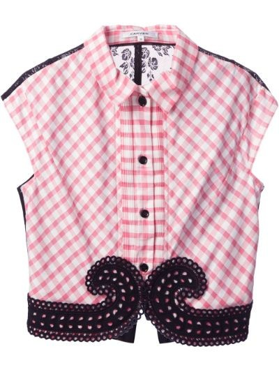 checked lace blouse