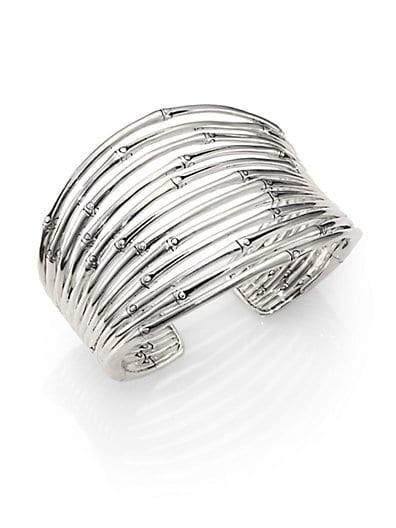 Sterling Silver Bamboo Wide Flex Cuff Bracelet