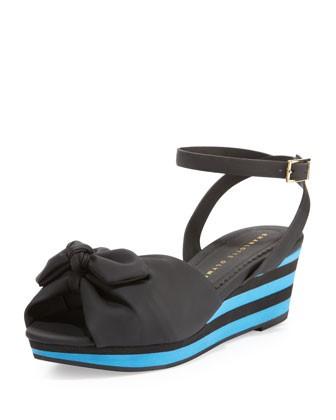 Alexa Rubber Wedge Sandal, Black - Charlotte Olympia