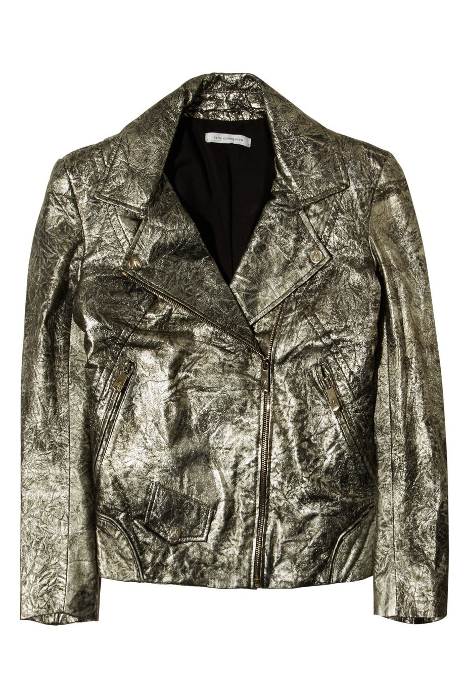 Metallic creased leather biker jacket
