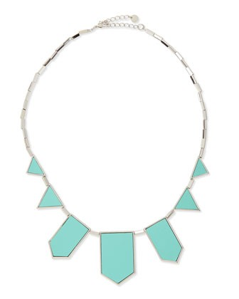 Geometric Leather-Inlay Station Necklace, Robin's Egg Blue