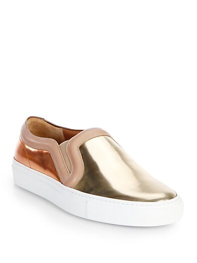 Bicolor Metallic Leather Slip-On Sneakers