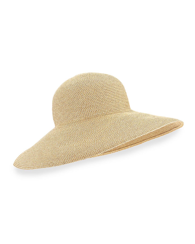 Shrimpton Shimmery Wide-Brim Hat - Eric Javits - Gold
