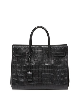 Sac de Jour Croc-Print Small Carryall Bag, Black - Saint Laurent