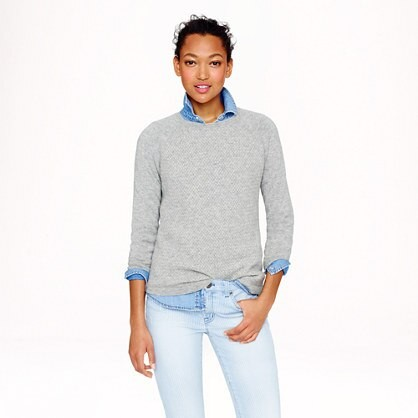 Collection cashmere basket-weave baseball tee