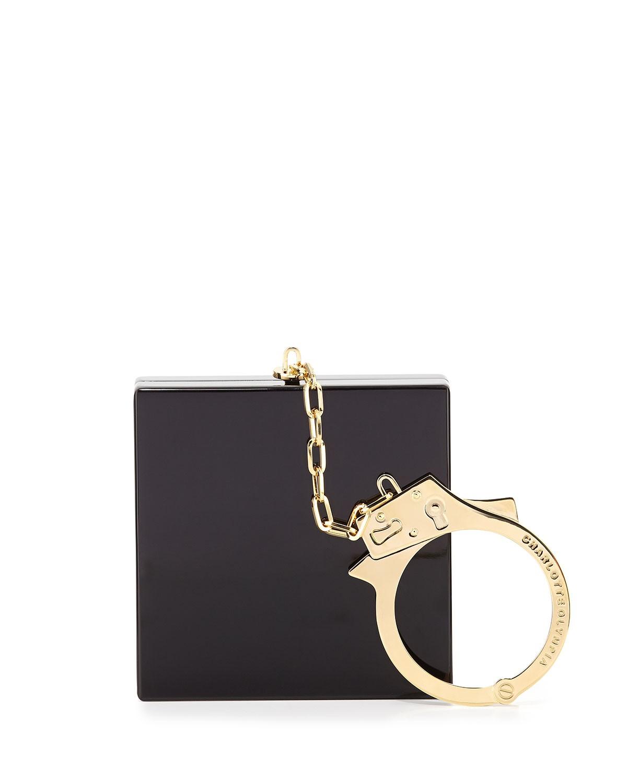 Handcuff Box Clutch Bag, Black - Charlotte Olympia