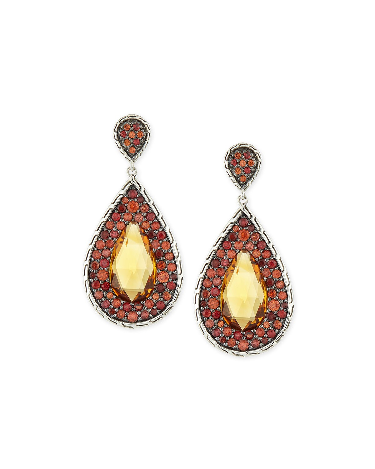 Batu Classic Chain Citrine Drop Earrings, Women's, SILVER - John Hardy