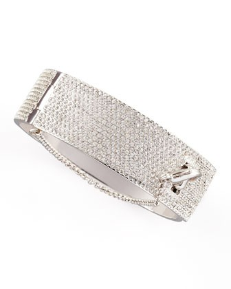 Women's Pave Crystal Safety Chain Cuff, Silver - Eddie Borgo