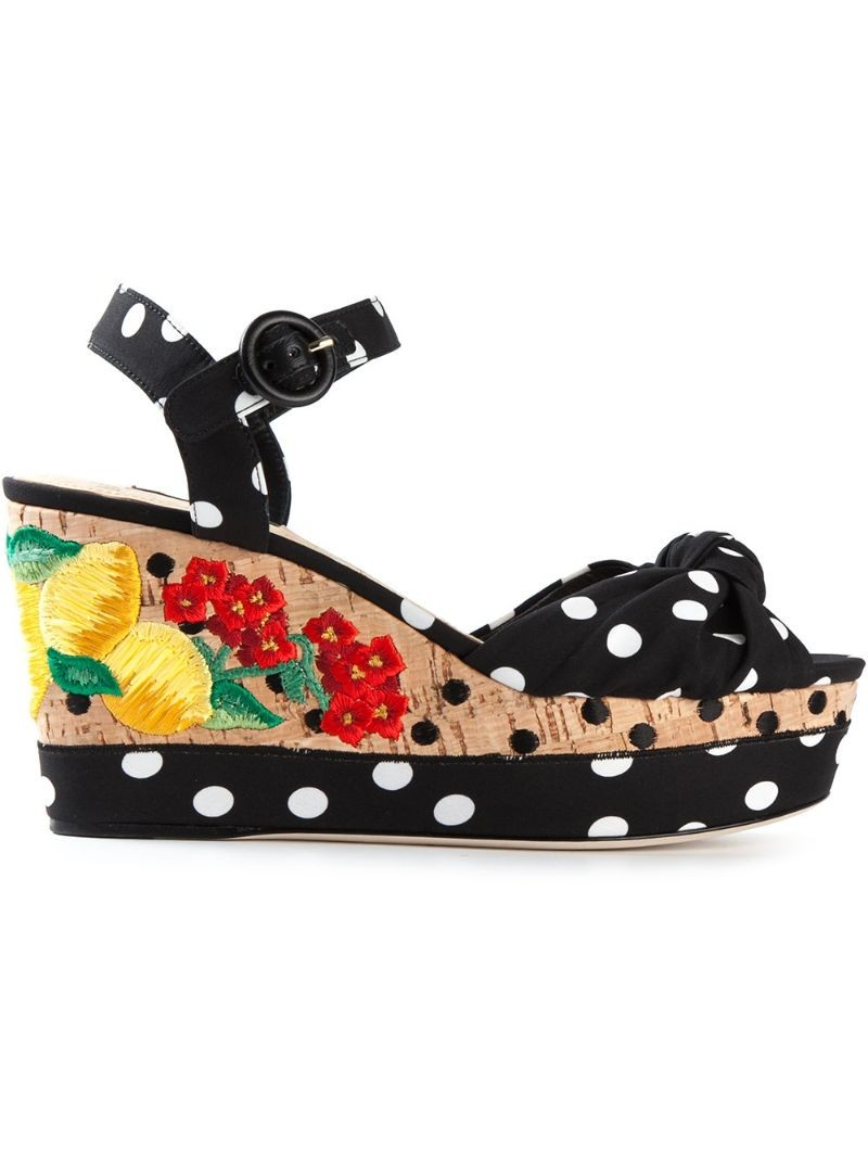 DOLCE & GABBANA polka dot embroidered cork wedge sandals