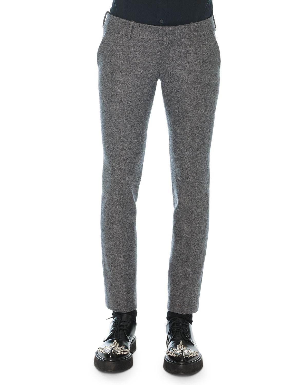 Alexander McQueen Felt Wool-Cashmere Trousers, Gray, Size: 48R