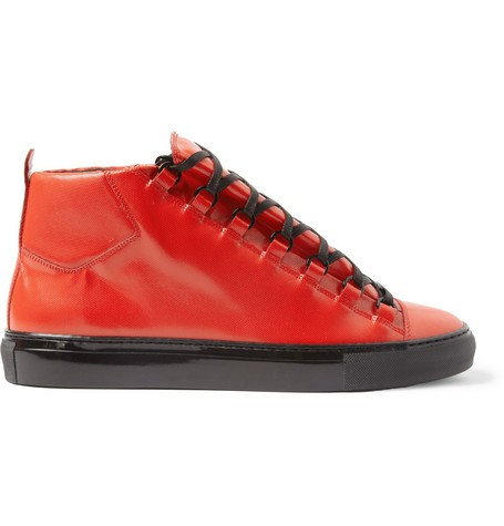Arena Embossed-Leather High-Top Sneakers