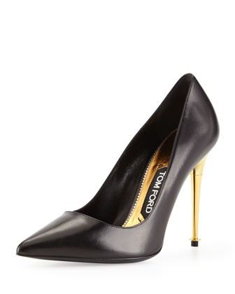 Leather Pointy-Toe Pump, Black/Gold - Tom Ford