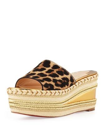 Myriama Platform Wedge Sandal, Leopard - Christian Louboutin