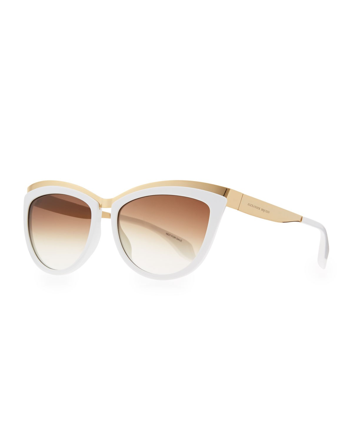 Colorblock Cat-Eye Sunglasses, White/Gold - Alexander McQueen - White