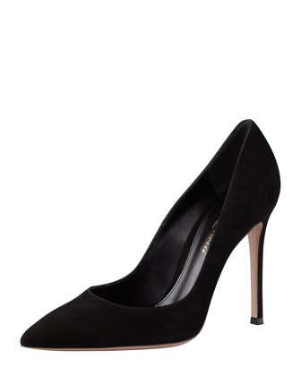 Gianvito Rossi Suede Pointed-Toe Pump, Black