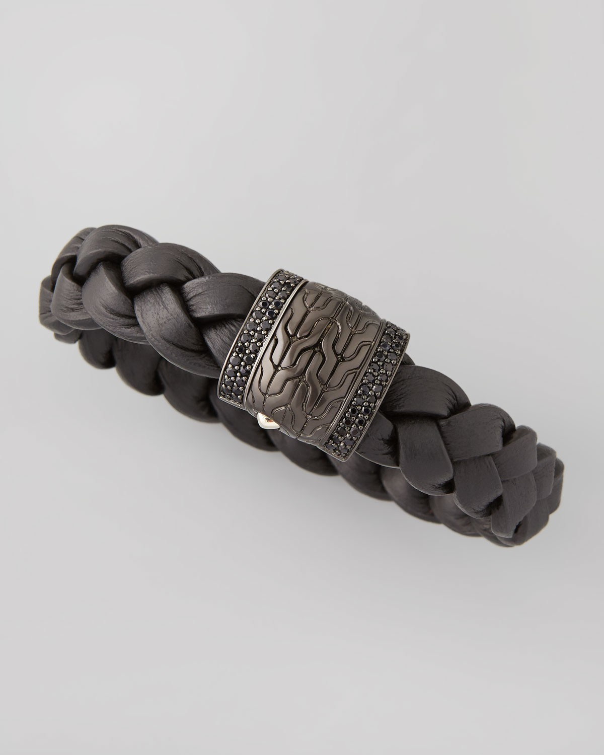 Men's Black Bronze Braided Leather Bracelet, Black - John Hardy - Bronze