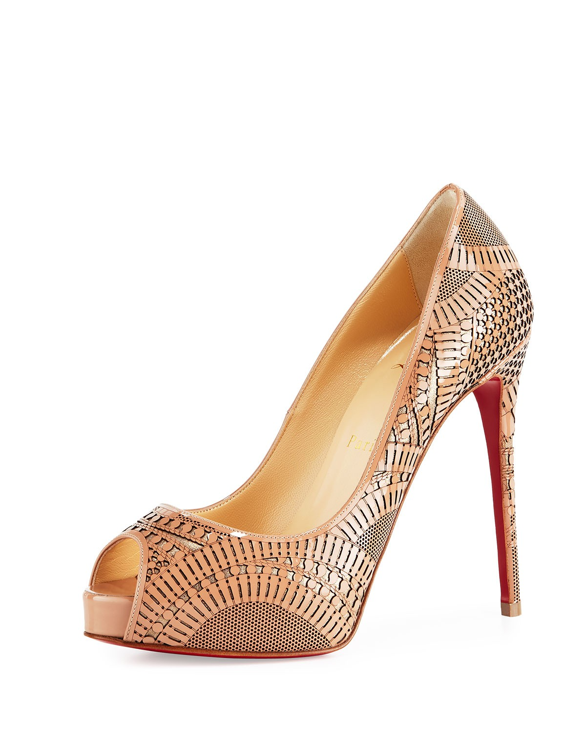 Suellena Laser-Cut Peep-Toe Red Sole Pump, Nude, Women's, Size: 10 1/2B - Christian Louboutin