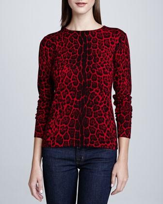 Women's Leopard-Print Cashmere Sweater