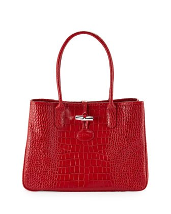 Roseau Crocodile-Embossed Shoulder Bag, Vermillion - Longchamp
