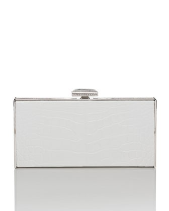 East-West Rectangle Clutch Bag, White - Judith Leiber Couture