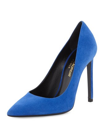 Paris Suede Pointed-Toe Pump, Blue - Saint Laurent