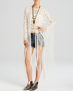 Free People Kimono Cardigan - Embroidered