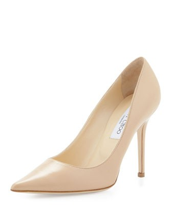 Abel Leather Pointy-Toe Pump, Nude - Jimmy Choo