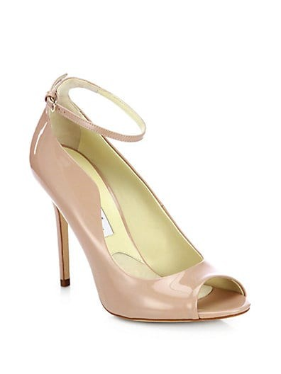 Myrta Patent Leather Peep-Toe Pumps