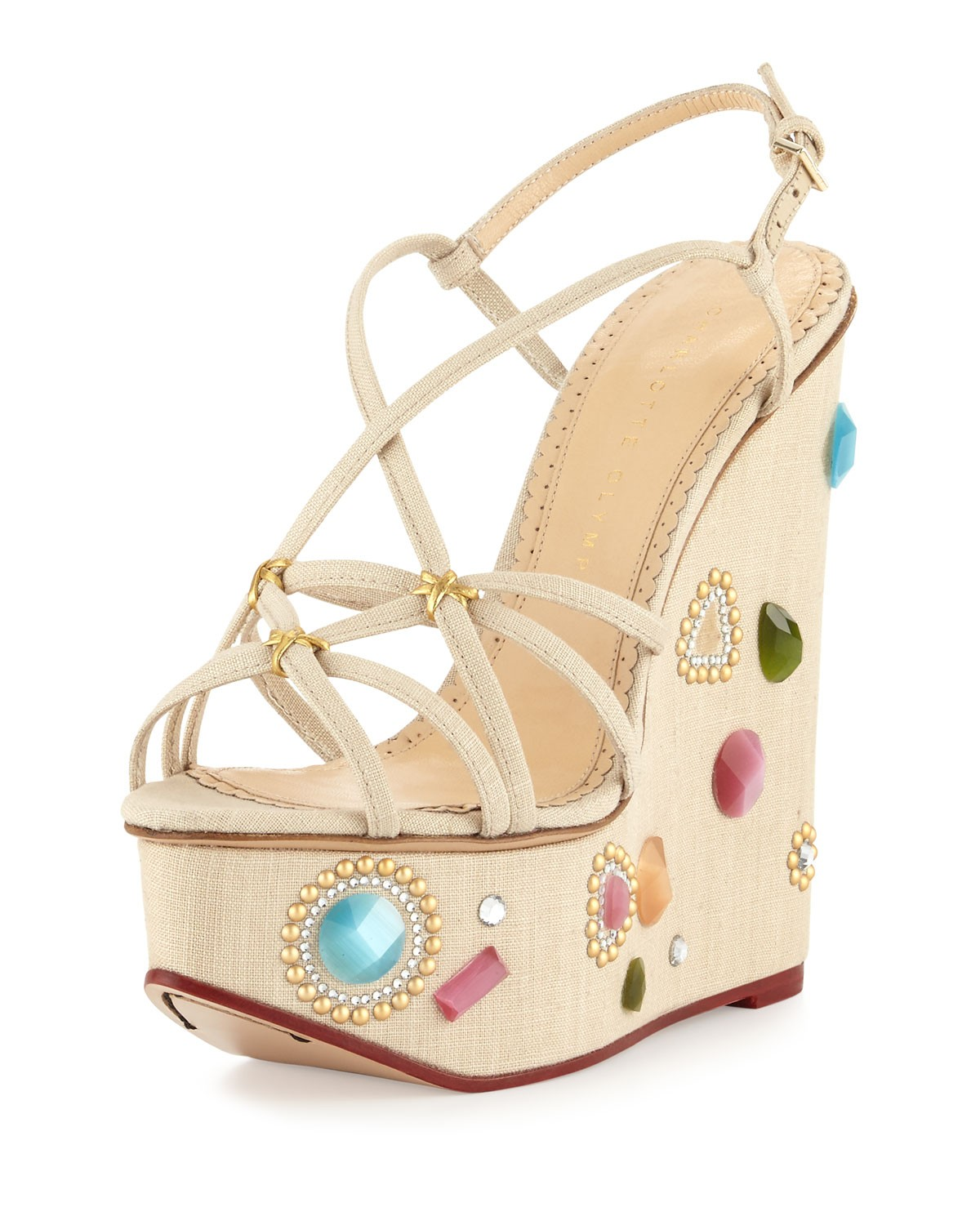 Elizabeth Jeweled Wedge Sandal, Natural - Charlotte Olympia