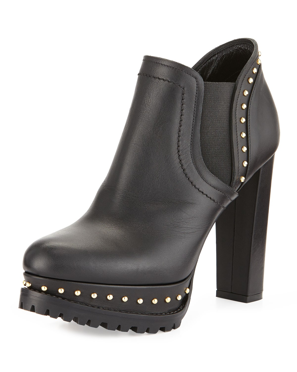 Studded Chelsea Ankle Bootie, Black - Alexander McQueen - Black (35.0B/5.0B)