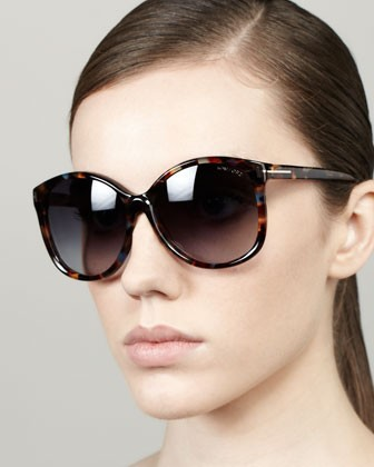 Alicia, Angled Round Sunglasses, Violet Havana - Tom Ford