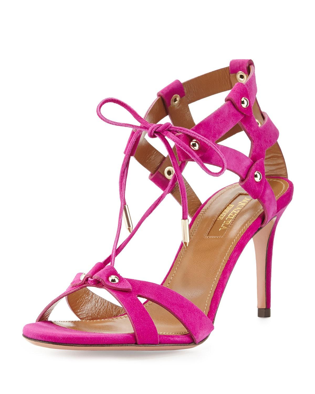 Bel Air Suede Cage-Heel Sandal, Orchid - Aquazzura