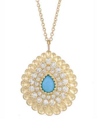 Peacock Pear Pendant Necklace with Turquoise and White Topaz - Jamie Wolf