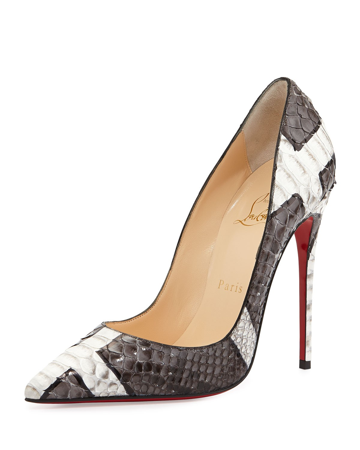 So Kate Python Red Sole Pump, Gray/White - Christian Louboutin - Grey/White (35.0B/5.0B)