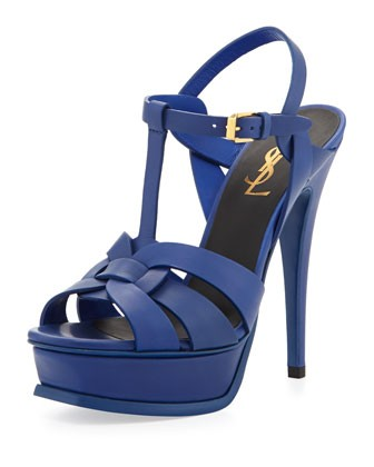 Tribute Leather Platform Sandal, Blue - Saint Laurent