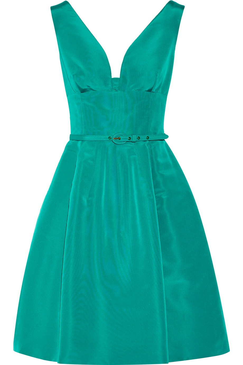 Belted silk-faille dress