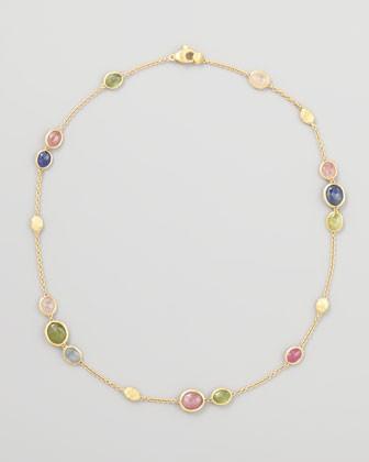 Siviglia 18K Gold Multicolor Sapphire Necklace, 16