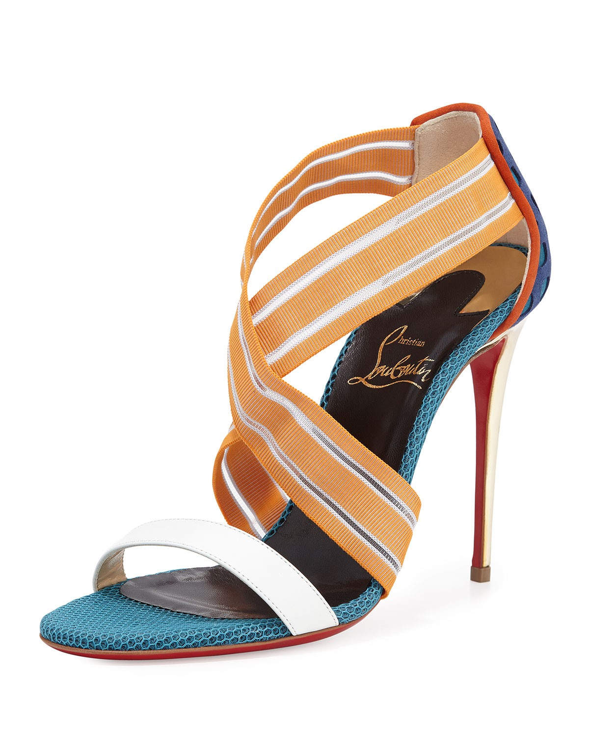 Elastigram Cross-Strap Red Sole Sandal, Multicolor - Christian Louboutin - Multi colors (35.0B/5.0B)