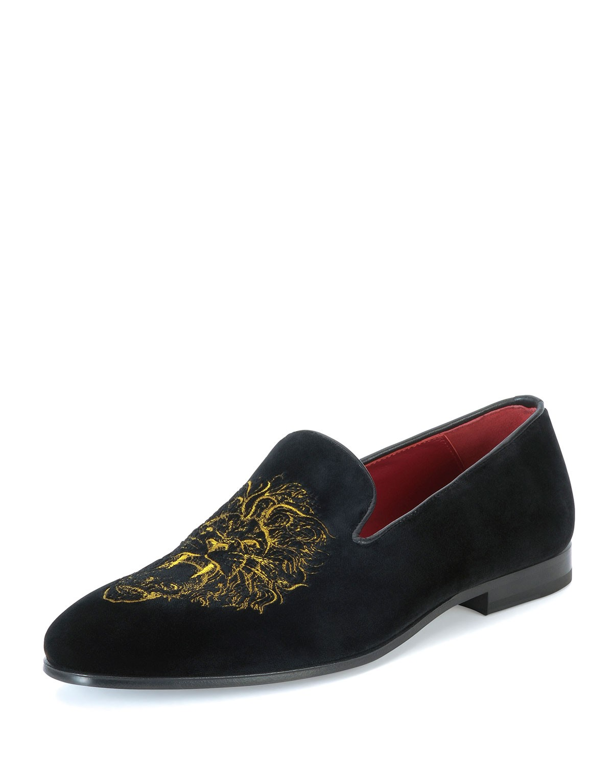 Slip-On Loafer with Embroidered Lion, Black/Mustard - Alexander McQueen