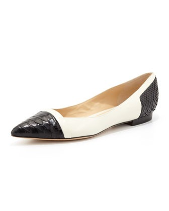 Women's Point-Toe Python Ballet Flat, Black/Off-White - Alexandre Birman