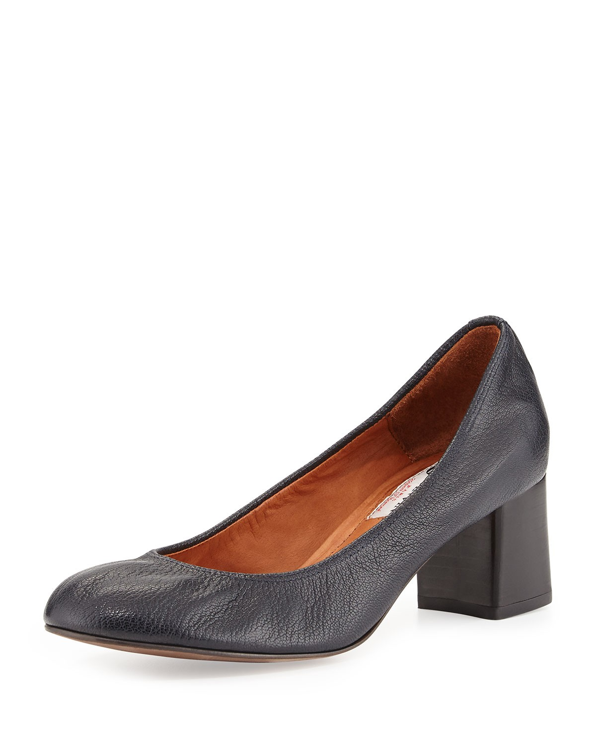 Tumbled Leather Cube-Heel Pump, Dark Blue - Lanvin