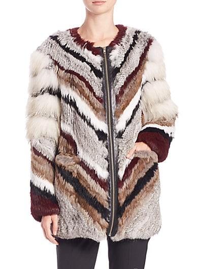 Tarra Chevron Fur Coat